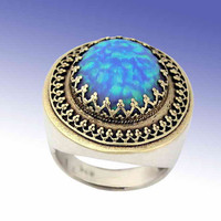 Filigree ring Large sterling silver yellow gold by artisanimpact