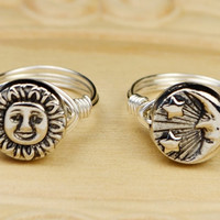 Sun OR Moon Ring- Sterling Silver Filled Wire Wrap Ring with Silver Tone Metal Bead - Any Size - Size 4, 5, 6, 7, 8, 9, 10, 11, 12, 13, 14