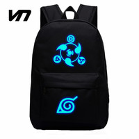 VN Brand 2016 Naruto Luminous Rucksacks Japan Anime Printing Backpacks Luminous Backpack For Boy And Girl Fans Canvas Backpack