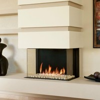 GAS FIREPLACE WITH PANORAMIC GLASS PANORAMA 75 | BRITISH FIRES