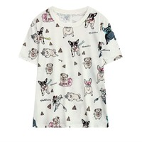 Harajuku Style Dog Printed Loose Fit T shirt