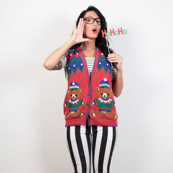 Vintage Ugly Christmas Sweater Vest 90s Red Green Teddy Bear Kawaii Knit Pom Ugly Xmas Sweater Tacky Christmas Jumper Party M Medium L Large