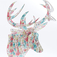 Handmade & DIY Questions and Antlers Buck Trophy in Floral by ModCloth