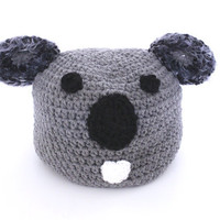 Koala beanie- Adult crocheted beanie-  Gray Animal Winter hat.