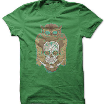 Green Owl Skull Shirt