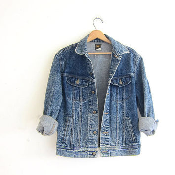 Vintage 80s acid wash jean jacket. Stone washed denim coat. Lee denim jacket