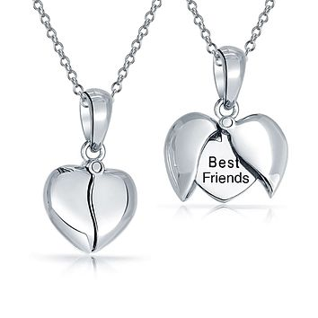 Word Quote I Love You Best Friend Mom Heart Locket Pendant Necklace