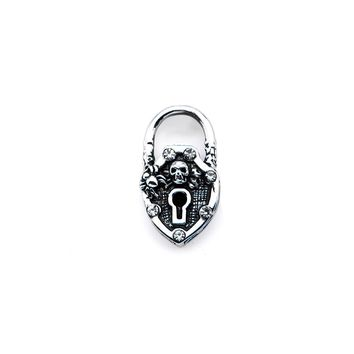 Inox 316L Stainless Steel Skull Padlock with Clear Gem Accent Pendant