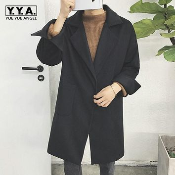 Winter Warm Oversized Wool Trench Coat For Men Thick Loose Fit Casaco Masculino Long Jacket Comfort Casual Wool Outwear Overcoat