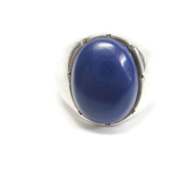 Vintage Mens Blue Enamel Ring Sterling Silver Size 10