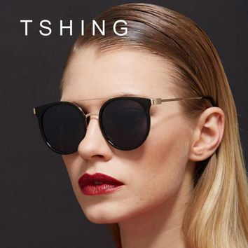 TSHING Designer Simple Metal Frame Oval Sunglasses