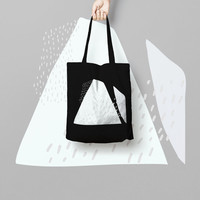 Triangle Printed Market Bag Totes Black, Canvas Tote Bag Cotton, Funny Grocery Bag, Designer Tote Bag, triangle tote bag, tote bag canvas