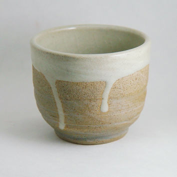8 oz ounce Unique Coffee Mug Tea Cup handleless, Wheel Thrown Pottery ceramic stoneware