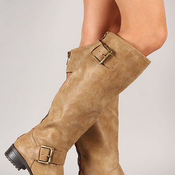 Soda Runic-S Zipper Buckle Round Toe Riding Knee High Boot