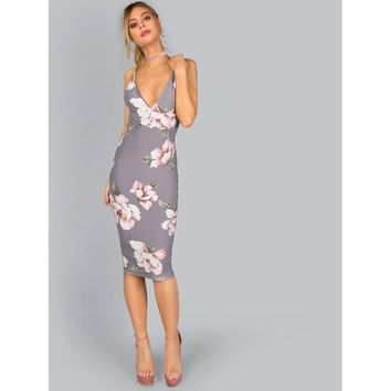 Dress with flower print without back to the knee