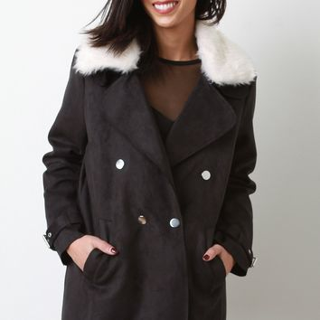Suede Faux Fur Collar Jacket