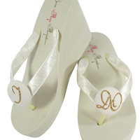 Gold & Ivory I DO Bridal Flip Flop Wedge Heels