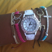 Set of 5 Watch and Arm Candy Bracelets Turquoise, Pink, Khaki, Brown and White Collection
