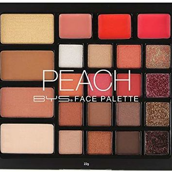 BYS Peach Face Palette - Featuring 16 textured glitter, matte and shimmer eyeshadows, 3 peach lip glosses with intense shimmer, 1 contour powder, 2 highlighters and 1 blush - Infused with a delicious