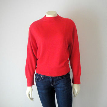 50's Red Mad Men Sweater. Batwing Pullover. High Neckline. Stretchy Knit. Long Sleeve. Retro. Mad Men. Rockabilly. Small Medium