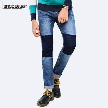 2017 New Fashion Brand Trend Patch Jeans Men Skinny Slim Fit Denim Trousers Patchwork Casual Mens Jeans Size 28-40
