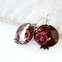 Pomegranate earrings - dangle enamel earrings - pomegranate jewelry - artisan jewelry by Alery