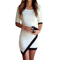 Women New Casual Fashion Stitching Irregular Hip Bandage Half Sleeve Party Dress Mini Dresses Black White