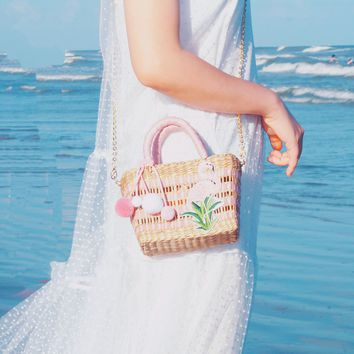 Flamingo Straw Wicker Beach Bag