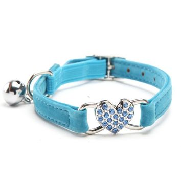 Adjustable Heart Charm and Bell Cat Collar with Soft Velvet Material | 4 colors