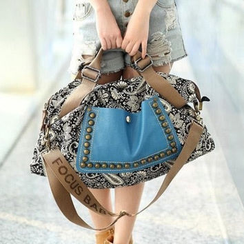 Ethnic Style Canvas Chic Multi Color Horizontal Shape Rivet Floral Print Splice Design Women's Tote Bag Crossbody Bag Shoulder Bag (Color: Multicolor) = 1928484356