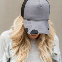 Vintage Distressed Baseball Hat - Gray