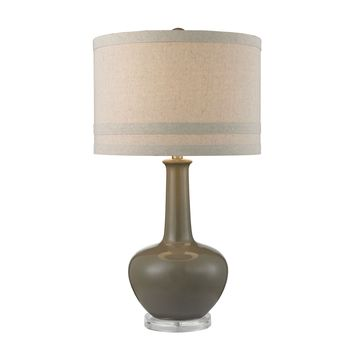 D2623 Ceramic Table Lamp in Grey Glaze And Acrylic - Free Shipping!