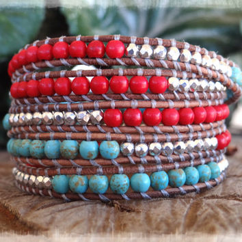 Beautiful Turquoise Leather Wrap Bracelet Adorned With Coral And Czech Beads For Men And Woman.