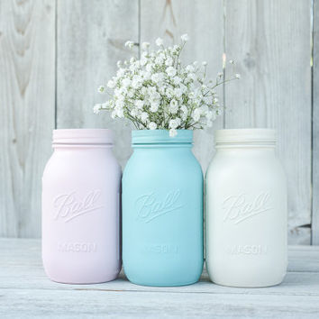Painted mason jar canister set, mason jar vases, quart ball jars, Pink and aqua, kitchen storage