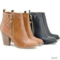 Women's Ankle Boots Chunky Heel Shoes Zip Up Almond Toe Booties Shoes New