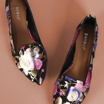 Floral Pointy Toe Loafer Flat | UrbanOG