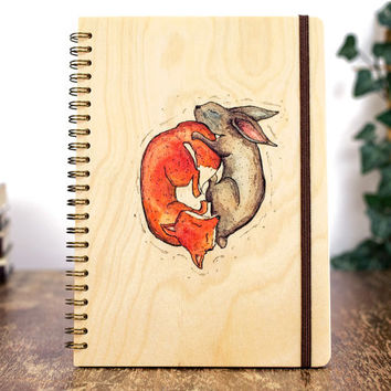 Yin Yang Journal, Custom Notebook, Cute Fox Rabbit Notebook, Yin Yang Gift, Animals Art, Wooden Art Notebook, Woman Gift Wooden Journal