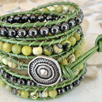 Juniper Green Leather Wrap Bracelet - southwestern jewelry - boho chic bohemian bracelets - sage green gunmetal black leather wrap