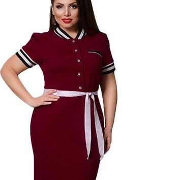 coed letterman Plus Size Dress bodycon Casual stripes Women Clothing burgundy navy blue white