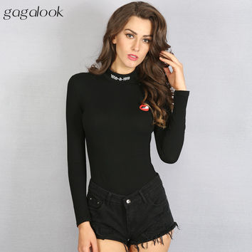 Brand Sexy Bodysuit Jumpsuit Romper Women Black Turtleneck Long Sleeve Cotton Print Bodycon Stretch Body PLNY P1011