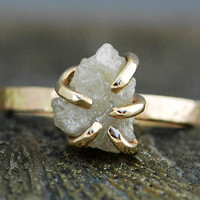 Prong-Set Rough Large Diamond Engagement Ring in 18k White or Yellow Gold- Size E Diamonds