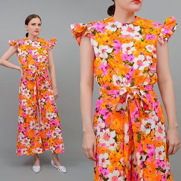 Vintage 60s Bright Floral Barkcloth Jumpsuit Cropped Wide Leg Pant Suit 1960s HAWAIIAN Romper Small S