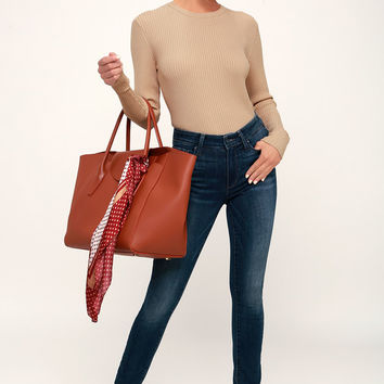Karlee Beige Ribbed Knit Long Sleeve Sweater Top
