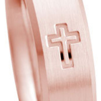 Cross Ring, Rose Gold Band, Rose Gold Wedding Ring, 7mm 14kt.  Handmade Pink Rose Gold Cross Design Wedding Band