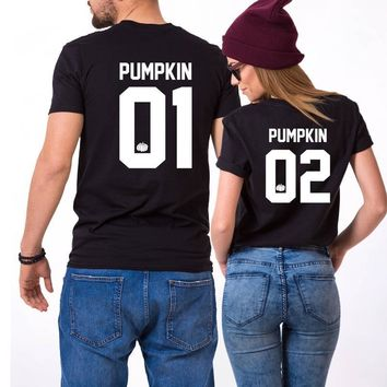b69c1167393e Pumpkin 01 02 Thanksgiving Couples Love T Shirt Women Men Fashio