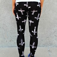 Large Distressed Cross Print Leggings