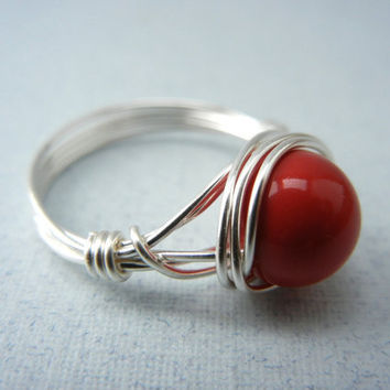 Silver Wire Ring - Swarovski Red Coral Ring - Custom Size Ring
