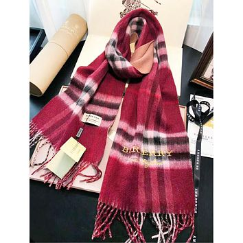 Burberry Autumn And Winter Fashion New Embroidery Letter Plaid Tassel Keep Warm Scarf Red