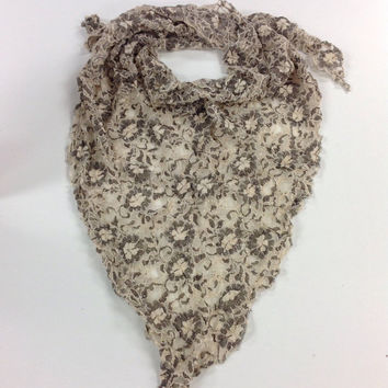 Boho Cream LACE scarf, Gift for friend, Tan kercheif, bohemian scarf hipster, Holiday Gifts, Boss gift, Gift exchange