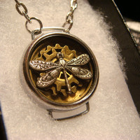 Silver Dragonfly With Watch Part Gears in Upcycled Watch Case Steampunk Necklace (1858)